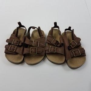 Osh Kosh Boys Brown Buckle Sandals Lot of 2 Pair
